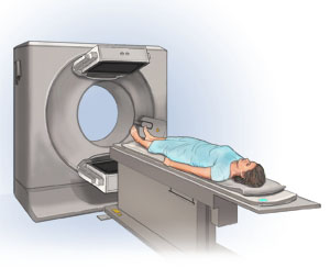 Woman lying on back on scanner table. Table ready to slide into ring-shaped scanner.